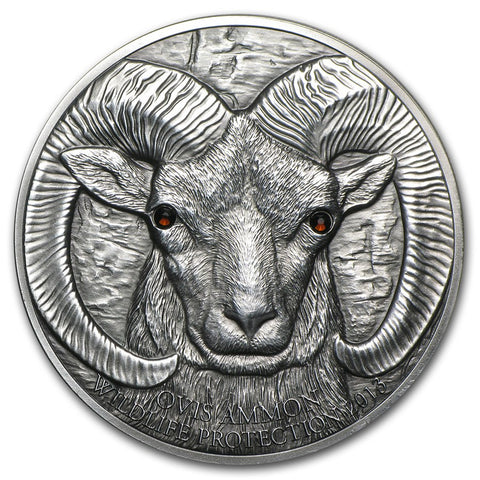 2013 Mongolia 1 Ounce Argali Ovis Ammon High Relief Silver Coin