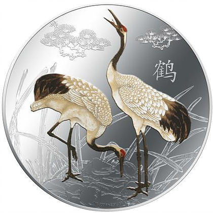 2013 Niue 1 Ounce Feng Shui Crane Colored Silver Proof Coin - Art in Coins