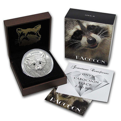 2013 Vanuatu 1 Ounce Forest Animals Raccoon High Relief Silver Coin Set - Art in Coins