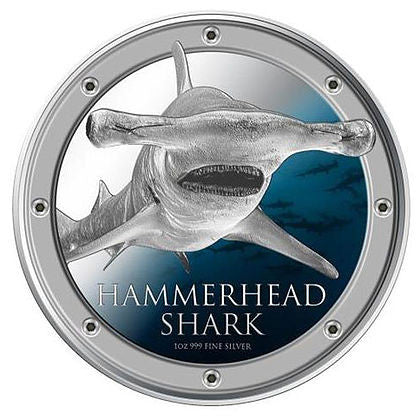 2013 Niue 1 Ounce Hammerhead Shark Colored Silver Proof Coin - Art in Coins