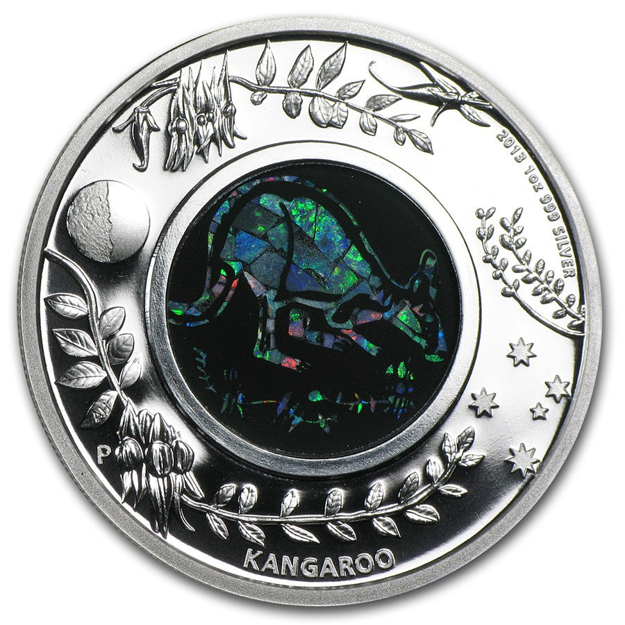 2013 1 Ounce Kangaroo Opal Series Silver Proof Coin - Art in Coins