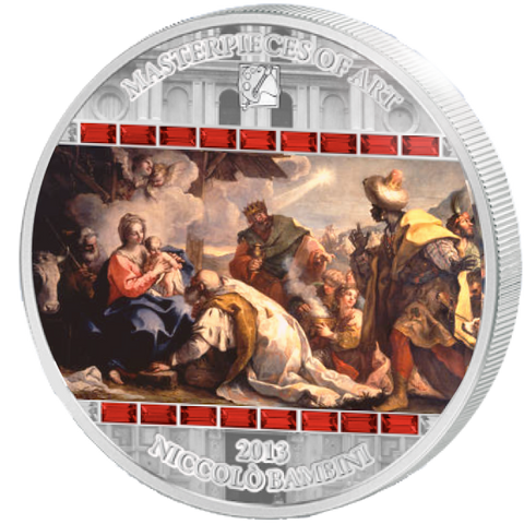 2013 Cook Islands 3 Ounce Adoration Of The Kings Silver Proof Coin - Art in Coins