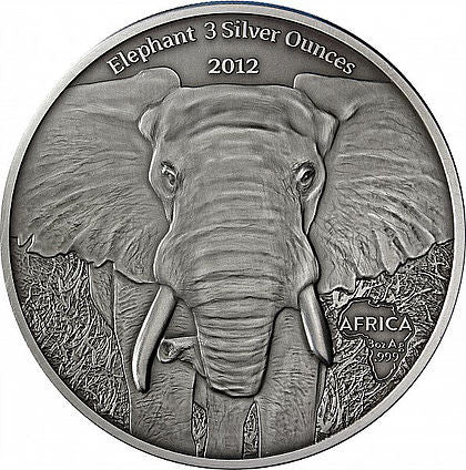 2013 Gabon 3 Ounce African Elephant Silver Proof Coin - Art in Coins