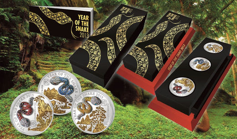 2013 Rwanda 3 X 20 Gram Year of the Snake Pave Crystal Silver Proof Coin Set - Art in Coins