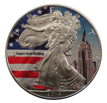 2014 1 Ounce American Eagle Empire State Edition Silver Coin - Art in Coins