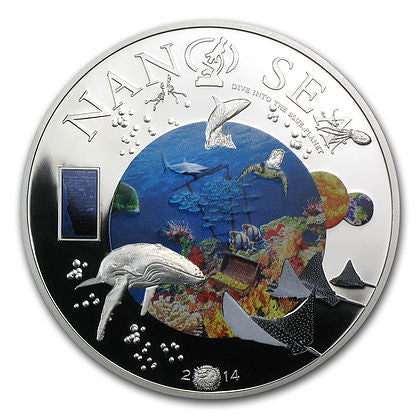 2014 Cook Islands 2 Ounce Nano Sea Silver Proof Coin - Art in Coins