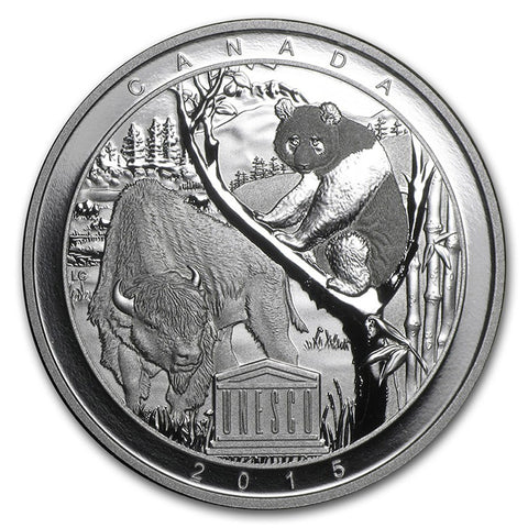2015 RCM 1 Ounce UNESCO Wood Buffalo and Panda Sanctuaries Silver Proof Coin