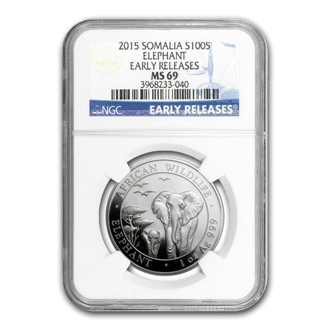 2015 Somalia 1 Ounce African Elephant Silver Coin NGC MS-69 ER - Art in Coins