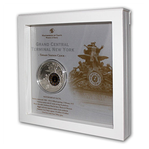 "2013 50g Windows of History ""Grand Central Station"" Silver Proof Coin Frame - Art in Coins"