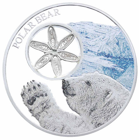 2017 Tokelau 1 Ounce Filigree Snowflake Polar Bear Colored Proof Silver Coin - Art in Coins5