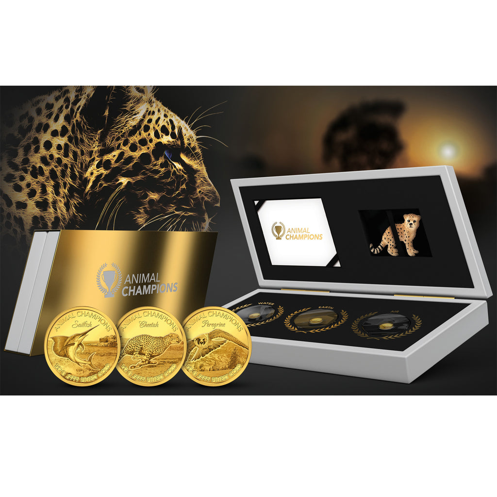2016 Solomon Islands 3 X 1/2 Gram Animal Champions Gold Proof Coin Set - Art in Coins