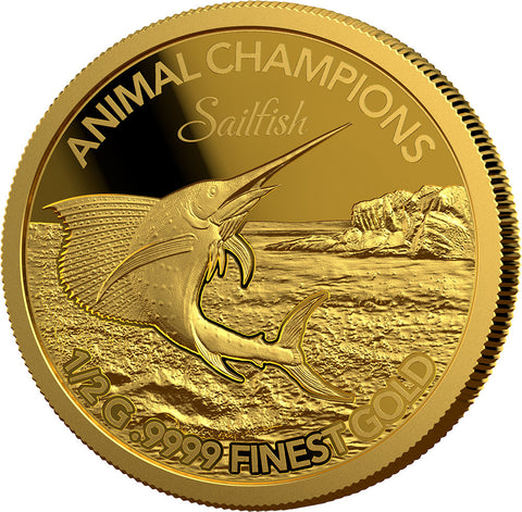 2016 Solomon Islands 3 X 1/2 Gram Animal Champions Gold Proof Coin Sailfish - Art in Coins