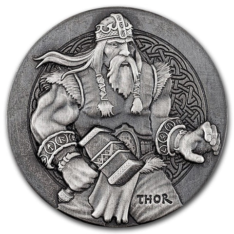 2016 2 Ounce Thor The Viking God High Relief Rimless Silver Coin