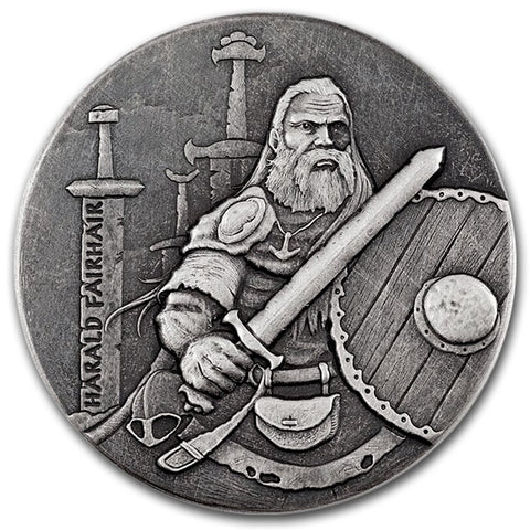 2016 2 Ounce Harald Fairhair The Viking King High Relief Rimless Silver Coin