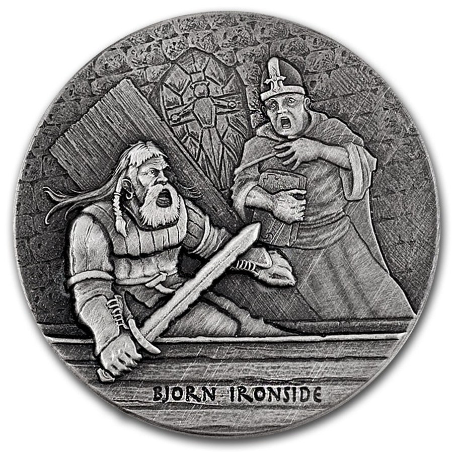 2016 2 Ounce Bjorn Ironside The Viking Warrior High Relief Rimless Silver Coin