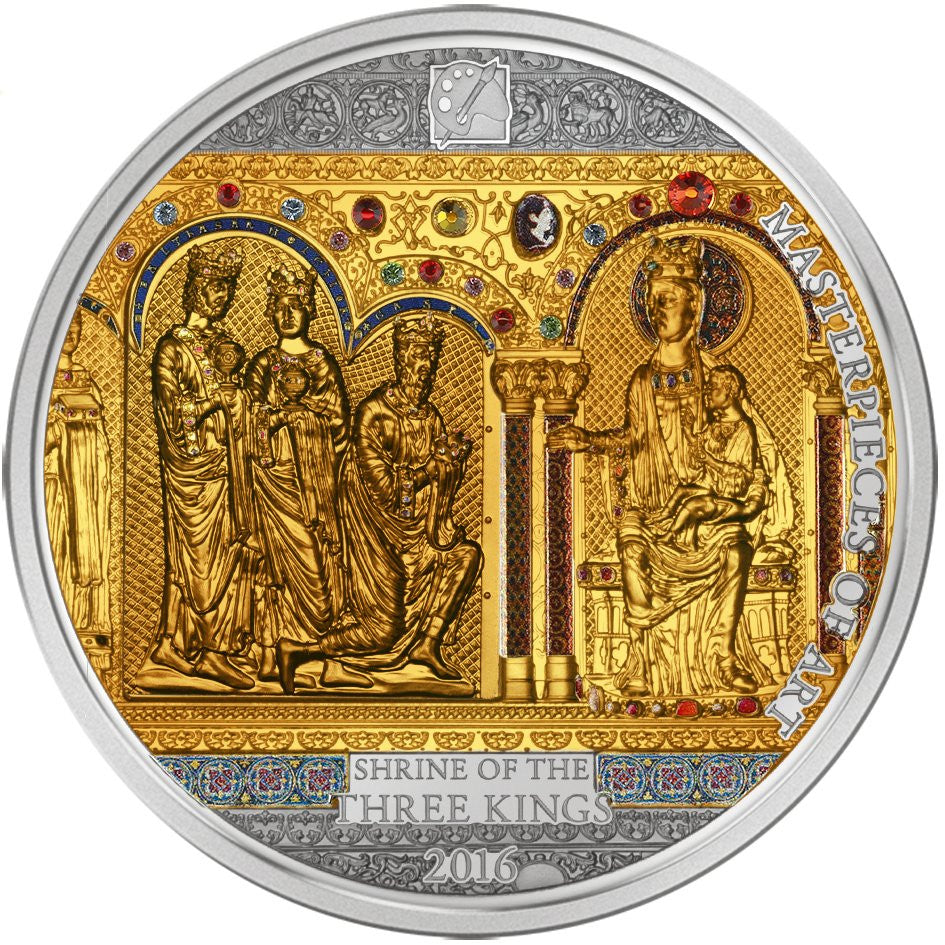 2016 Cook Islands 3 Ounce Shrine Of The Three Kings Silver & Gold Proof Coin Set - Art in Coins
