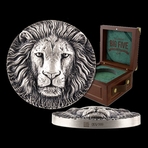 2016 Ivory Coast 5 Ounce Big 5 Lion High Relief Silver Proof Coin Set