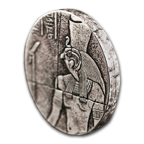 2016 Chad 2 Ounce Horus Egyptian Relic Silver Proof Antique Finish Coin Profile - Art in Coins