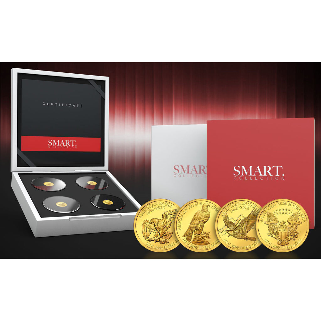 2016 Fiji 4 X 1/2 Gram Smart Collection Eagle Gold Proof Coin Set - Art in Coins