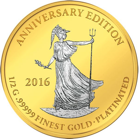 2016 Gabon 7 X 1/2 Gram Anniversary Edition .99999 Gold Platinum Proof Coin Britannia - Art in Coins