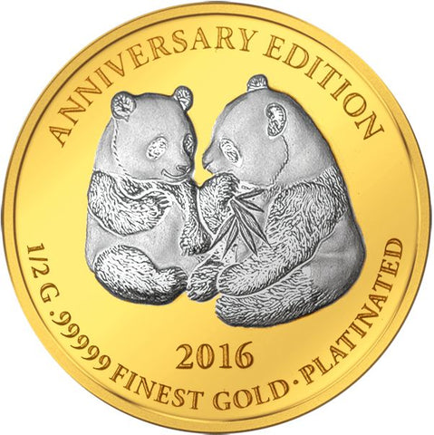 2016 Gabon 7 X 1/2 Gram Anniversary Edition .99999 Gold Platinum Proof Coin Set