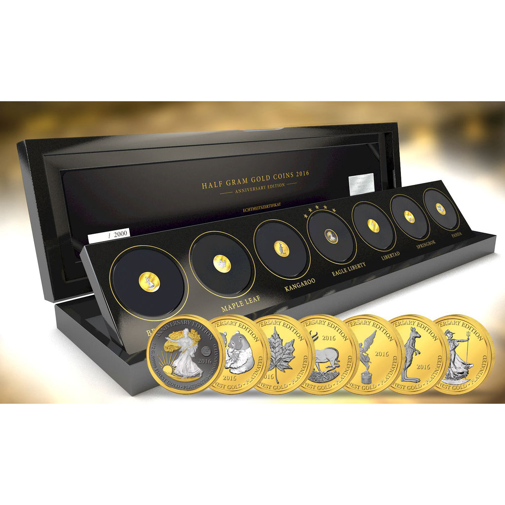 2016 Gabon 7 X 1/2 Gram Anniversary Edition .99999 Gold Platinum Proof Coin Set - Art in Coins