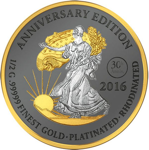 2016 Gabon 7 X 1/2 Gram Anniversary Edition .99999 Gold Platinum Proof Coin Walking Liberty - Art in Coins