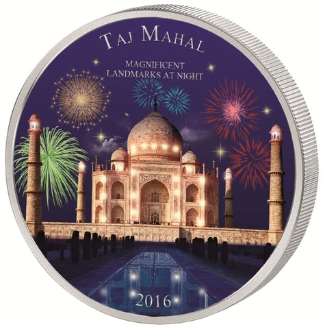 2016 Ivory Coast 2 Ounce Landmarks At Night Taj Mahal Silver Coin - Art in Coins