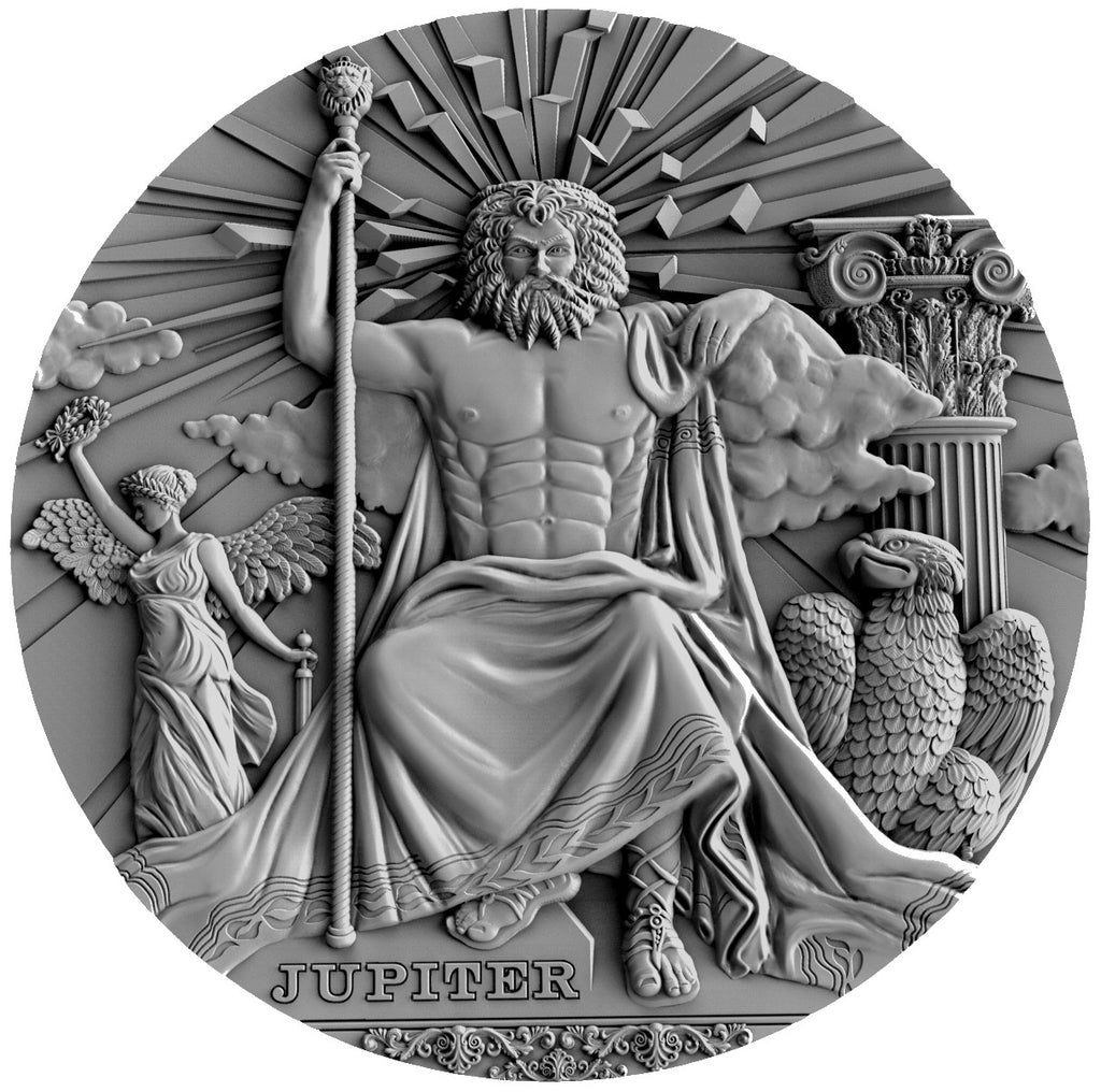 2016 Niue 2 Ounce  Roman Gods Jupiter High Relief, Antique Finish Silver Coin - Art in Coins