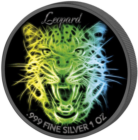 2016 Solomon Islands 3 X 1 Ounce Leopard Black Neon UV Colored Silver Coin - Art in Coins
