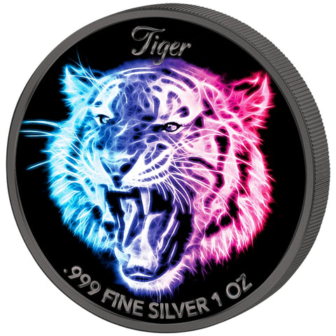 2016 Solomon Islands 3 X 1 Ounce Tiger Black Neon UV Colored Silver Coin - Art in Coins
