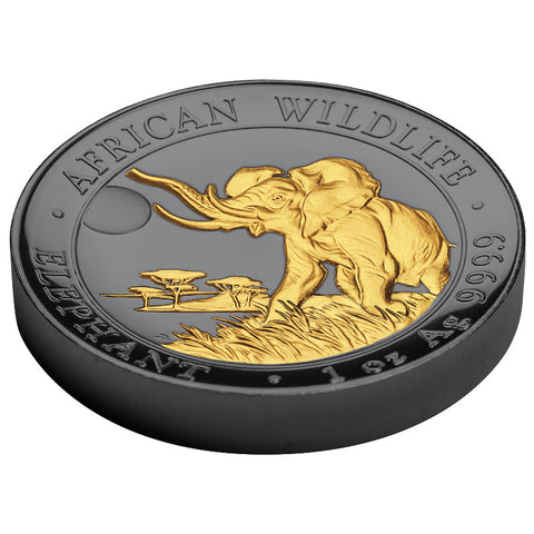 2016 Somalia 1 Ounce Golden Enigma Elephant High Relief Ruthenium and Gold Silver Coin