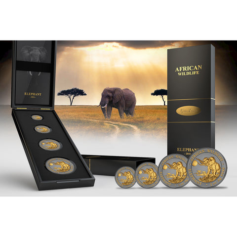 2016 Somalia Elephant Golden Enigma African Wildlife Ruthenium & Gold Silver Coin Set - Art in Coins