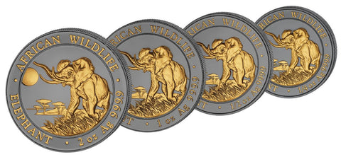 2016 Somalia Elephant Golden Enigma African Wildlife Ruthenium and Gold Silver Coin Set 2nd Issue