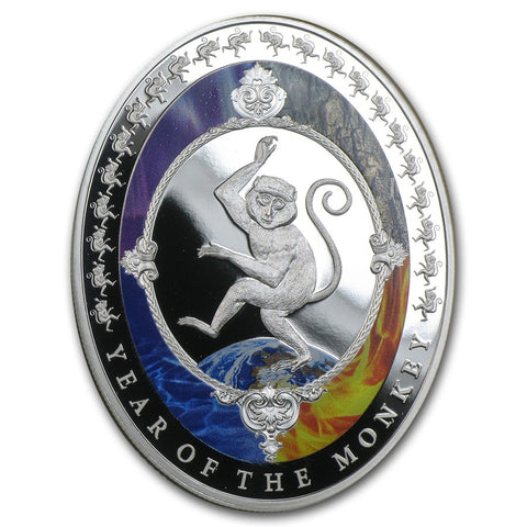 2016 Tokelau 1 Ounce Lunar Year Of The Monkey 5 Elements Silver Proof Coin - Art in Coins