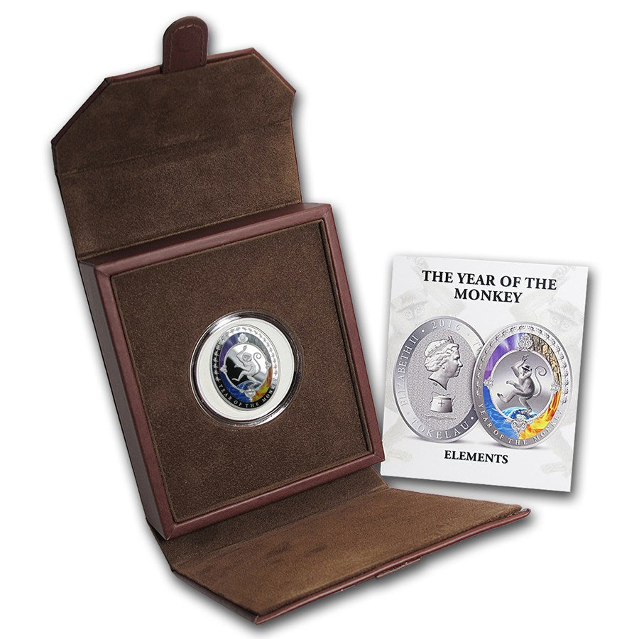 2016 Tokelau 1 Ounce Lunar Year Of The Monkey 5 Elements Silver Proof Coin Set