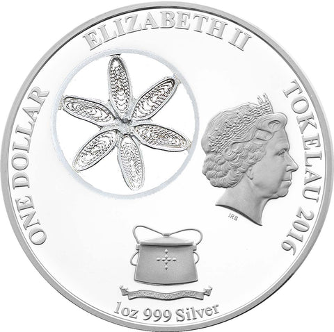 Tokelau 3 X 1 Ounce Filigree Snowflake Colored Silver Proof Coin Collection