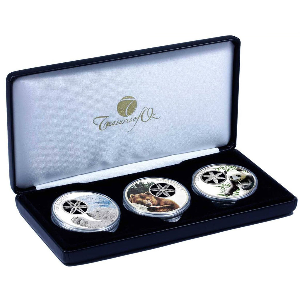 2017 Tokelau 3 X 1 Ounce Filigree Snowflake Colored Silver Proof Coin Collection - Art in Coins