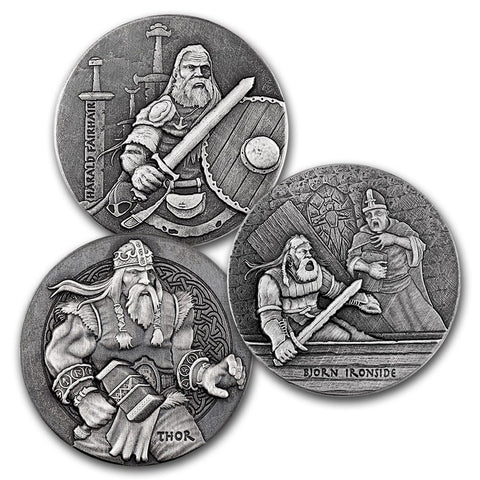 2016 2 Ounce Viking Series Second 3 Issues Silver Coins - Art in Coins