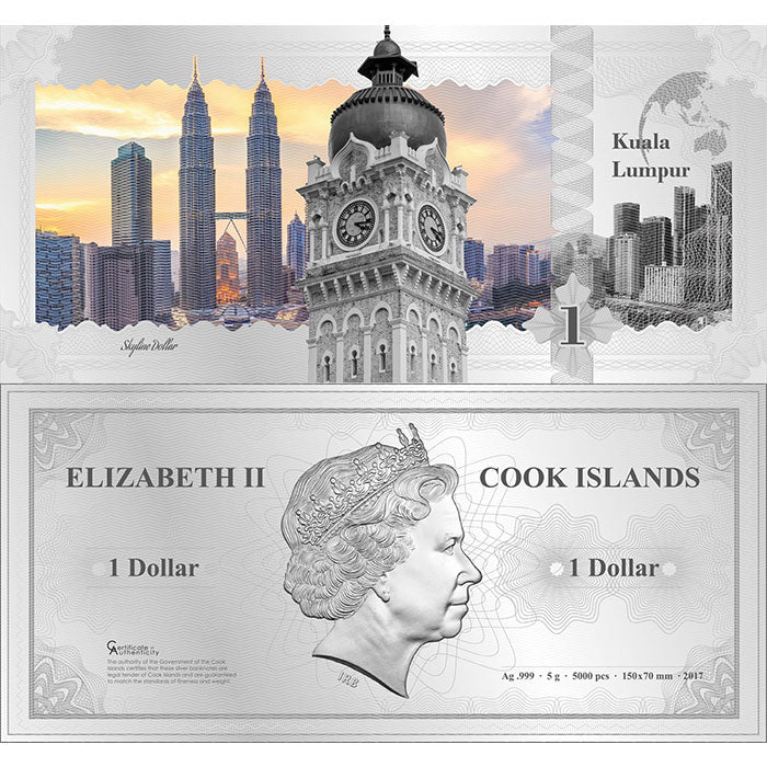 2017 Cook Islands 5 Gram Kuala Lumpur Skyline Dollar Minted Silver Bank Note
