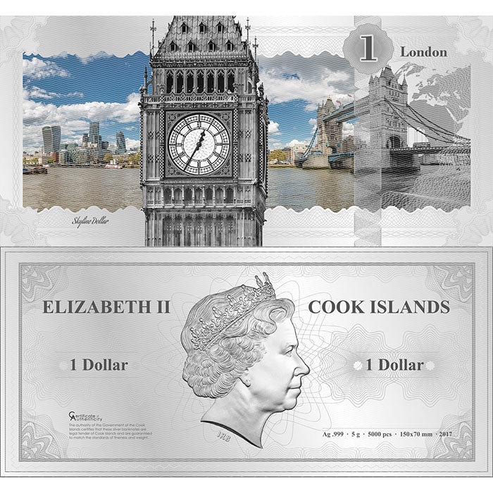 2017 Cook Islands 5 Gram London Skyline Dollar Minted Silver Bank Note