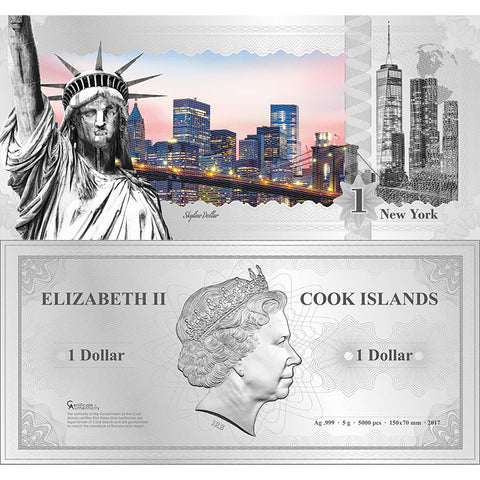 2017 Cook Islands 5 Gram New York Skyline Dollar Minted Silver Bank Note