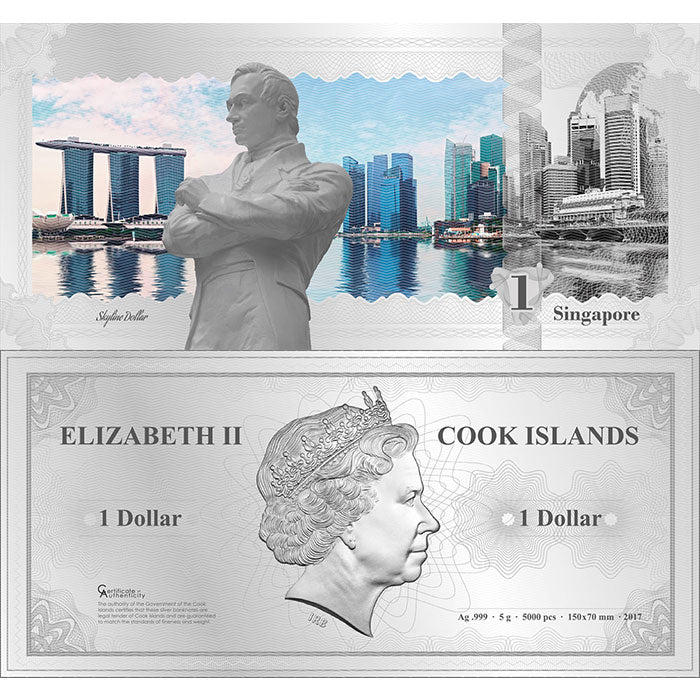 2017 Cook Islands 5 Gram Singapore Skyline Dollar Minted Silver Bank Note