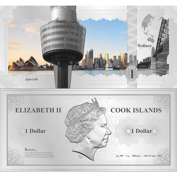 2017 Cook Islands 5 Gram Sydney Skyline Dollar Minted Silver Bank Note