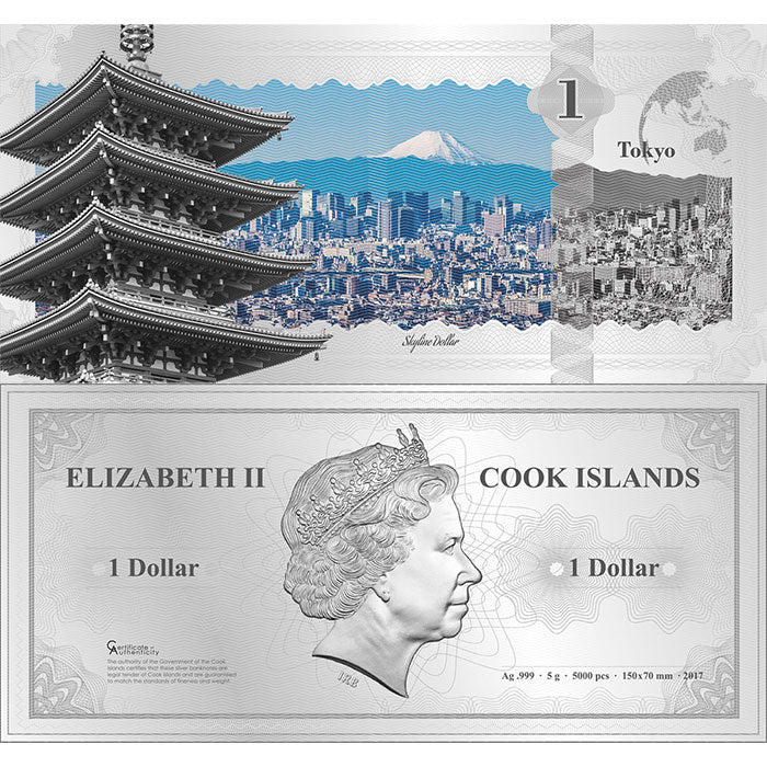 2017 Cook Islands 5 Gram Tokyo Skyline Dollar Minted Silver Bank Note