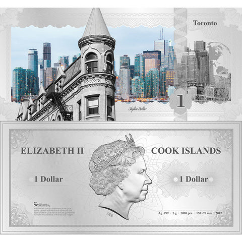 2017 Cook Islands 5 Gram Toronto Skyline Dollar Minted Silver Bank Note