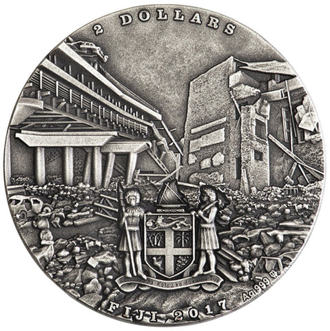 2017 Fiji 1 Ounce Cataclysm's Earthquake High Relief Silver Coin