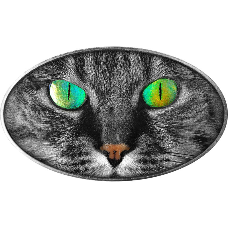 2017 Niue 1 Ounce Animal Skins Kitty Cat High Relief Colored .999 Silver Coin with Holographic Eyes