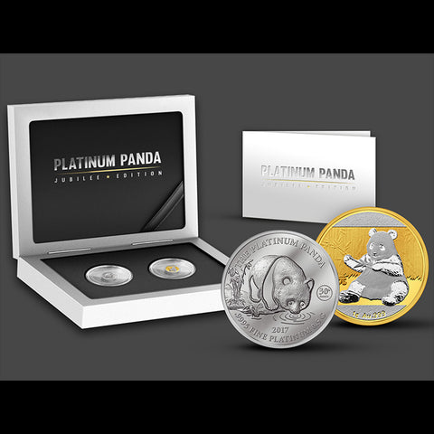 2017 Platinum Panda Jubilee 1 Gram Gold and 1/2 Gram Platinum Commemorative Coin Set