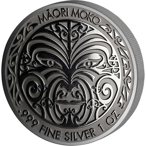 2017 Tokelau 1 Ounce Maori Mokko Art Ruthenium Silver Proof Coin - Art in Coins